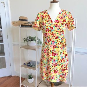 J. Crew yellow floral wrap dress